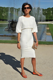 Ines de la Fressange wore eye-catching embellished flats at Chanel's presentation of its Cruise Collection.