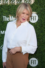 Martha Stewart jazzed up her simple white button-down with layers of pearls when she attended the Couture Council Fashion Visionary Awards.