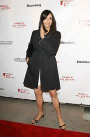 Famke Janssen displayed her feet in a pair of thin-strapped slingbacks at the Tribeca Film Fest.