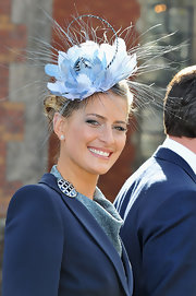 Princess Tatiana turned heads with her blue flower fascinator at the christening of Crown Prince Frederik of Denmark's twins.