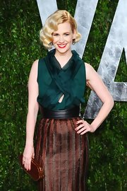 January Jones accentuated her tiny waist with an oversized black leather belt for the 2012 Vanity Fair Oscar party.