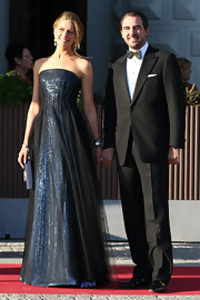 Princess Tatiana chose a strapless blue gown with a sheer black overlay for the private dinner on the eve of the wedding of Princess Madeleine and Christopher O'Neill.
