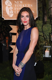 Hilary Rhoda wore layers of diamond bracelets for a luxe finish to her look during the New Yorkers for Children Gala.