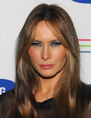 Melania Trump sported a ton of slate-blue eyeshadow for a bold and sexy beauty look during the Samsung 3D LED TV launch party.