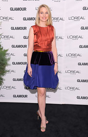 Marissa Mayer did some stylish color blocking, pairing her red top with a blue and purple bubble-hem skirt.