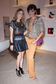Ines de la Fressange attended a party wearing a sparkly sequined jacket.