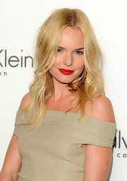 Kate Bosworth chose a bright red lip color for a much-needed pop to her neutral outfit.