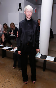 Kate Lanphear teamed a black silk tie-neck button-down with slacks for the Ohne Titel fashion show.