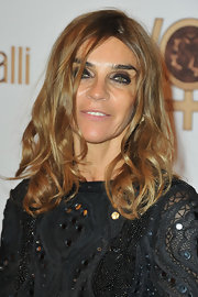 Carine Roitfeld styled her hair with piecey waves for the Roberto Cavalli party.