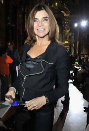 Carine Roitfeld was moto-chic in a black zip-up jacket during the Stella McCartney fashion show.