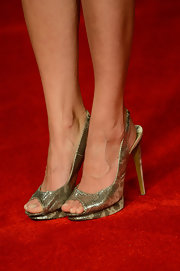 Jaimie Alexander completed her look with a pair of glitter-finish leather slingback pumps.