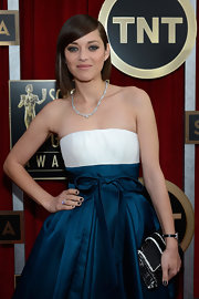 Marion Cotillard paired a black-and-white Dior beaded clutch with a strapless gown for the SAG Awards.