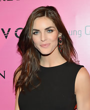 For a bit of color to her LBD, Hilary Rhoda wore a pair of tribal-chic gemstone chandelier earrings.