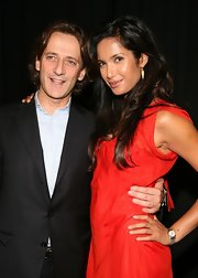 Padma Lakshmi accessorized with a classic gold quartz watch when she attended the Luca Luca fashion show.