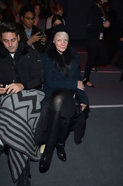 Kate Lanphear rocked a pair of black knee-high boots at the Ruffian fashion show.