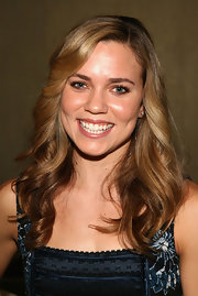 Natalie Coughlin looked demure wearing this feathered flip at the 'Billies' VIP reception.