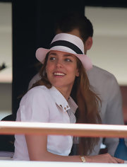 Charlotte Casiraghi looked cute wearing this black-and-white fedora at the Global Champions Tour 2012.