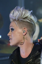 Pink went majorly edgy with this fauxhawk for a performance in Melbourne, Australia.