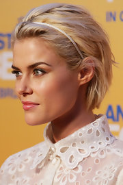 Rachael Taylor looked stylish with her short, brushed-back bob at the Sydney premiere of 'Any Questions for Ben.'
