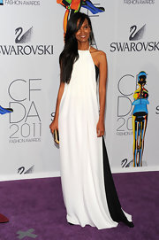 Liya Kebede was breezy and stylish in a monochrome halter gown by Derek Lam during the CFDA Fashion Awards.