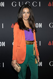 Camilla Belle's metallic gold tassel belt was the perfect finishing touch to her colorful all-Gucci ensemble at the RocNation pre-Grammy brunch.