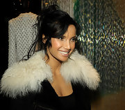 Padma Lakshmi attended the Michael Roberts book party wearing a messy-glam updo.