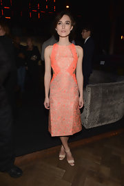 Keira Knightly chose simple nude ankle-strap sandals, also by Richard Nicoll, to complete her look.