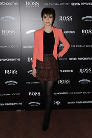 Sami Gayle donned a cute coral cropped blazer for the screening of 'Seven Psychopaths.'