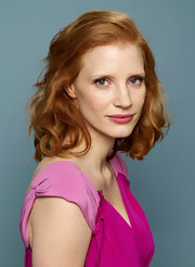 Jessica Chastain wore her hair down to her shoulders with tousled curls for her 'Take Shelter' portrait session.
