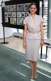 Marion Cotillard suited up in this simple gray number for the Bike in Style event.