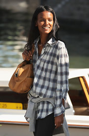 Liya Kebede showed her off-duty-model style with this plaid boyfriend button-down at the Venice Film Festival.