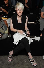 Kate Lanphear attended the Diesel Black Gold fashion show wearing stylish tricolor strappy sandals.