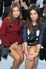 Julia Restoin-Roitfeld attended the Louis Vuitton fashion show rocking black nail polish.