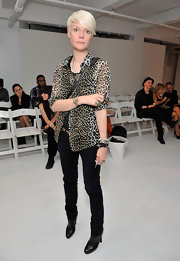 Kate Lanphear went for some wild appeal with this sheer leopard-print blouse at the Rad by Rad Hourani fashion show.
