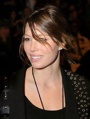 Jessica Biel amped up the edge factor with this messy updo teamed with a grommeted jacket at the William Rast fashion show.