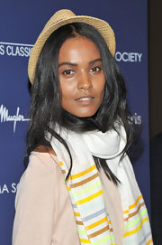 Liya Kebede looked fun and laid-back wearing a straw hat to the screening of 'Midnight in Paris.'