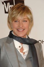 Ellen DeGeneres sported a layered razor cut at the 2008 Elton John AIDS Foundation Oscar-viewing party.
