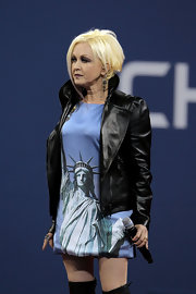 Cyndi Lauper expressed her pride for her country wearing a Lady Liberty print dress at the 2011 US Open Day.
