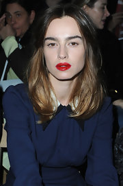 Kasia Smutniak swiped on some glossy red lipstick for an extra-hot pout.