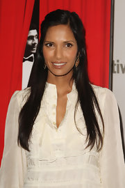 Padma Lakshmi sported a fuss-free half-up style at the New York premiere of 'Valentino: The Last Emperor.'