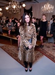 Julia Restoin-Roitfeld was edgy-luxe in a leopard-print fur coat during the Joie presentation.