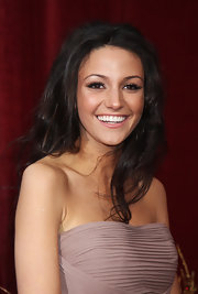 Michelle Keegan attended the British Soap Awards wearing her hairs in tousled waves.