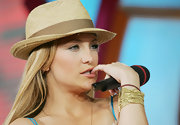 Kate Hudson wore a cute straw hat while visiting MTV's 'Total Request Live.'