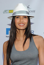 Padma Lakshmi made an appearance at the Rush for Literacy Celebrity Billiards Tournament wearing a cool white and gray fedora.