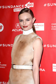 Kate Bosworth cinched her furry top with a white leather belt when she attended the 'Big Sur' premiere.