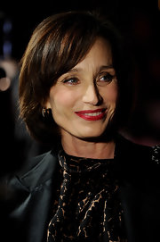 Kristin Scott Thomas wore her hair in a bob with side-swept bangs at the 2011 London Critics' Circle Film Awards.