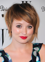 Emily Browning gave us hair envy with her short emo cut at the W Magazine Golden Globes party.