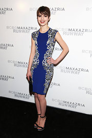 Sami Gayle matched her dress with BCBG Max Azria Finite ankle-strap sandals.