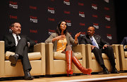 Padma Lakshmi's fire engine-red Louboutin boots couldn't be missed at the Time Person of the Year panel!