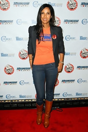 Padma Lakshmi teamed camel-colored knee-high boots with jeans and a blazer for a cool and casual look during Comedy Central's election night viewing party.